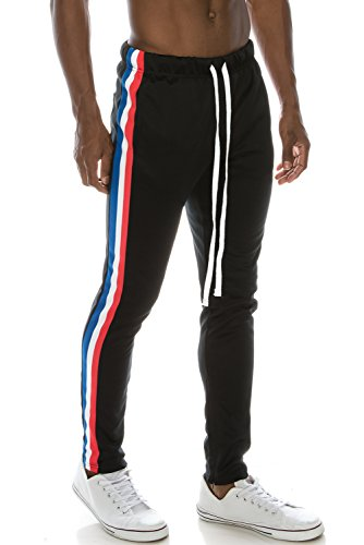 Slim Stripe Pant (JC DISTRO Mens Hipster Hip Hop Premium Side Stripe Slim Pants W/Ankle Zipper Black M)
