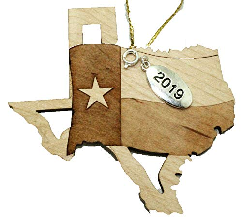 Twisted Anchor Trading Co Texas State Ornament Flag Christmas Ornament 2019 - Laser Cut Engraved Wood Ornament - Comes in a Gift Bag so It's Ready for Giving