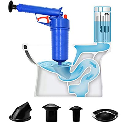 Toilet Plunger Air Drain Blaster High Pressure Plunger Cleaner Drain Cleaning Tool Kitchen Sink Sewer Dredge Tools for Kitchen, Bathroom, Dredge Pipe, Sewer Drain Blaster Drain Cleaner