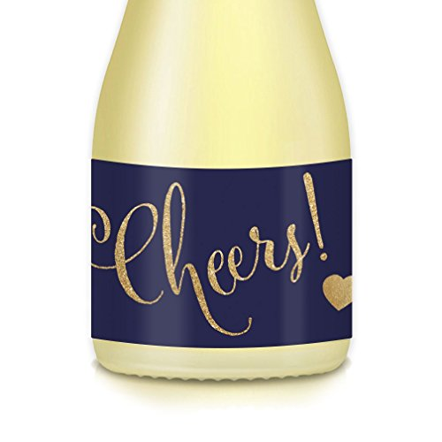 CHEERS! Mini Champagne & Wine Bottle Labels, Set of 20 All Occasion Decals Celebrating Special Anniversary, College or HS Graduation, Housewarming, Coworker Retirement, 3.5