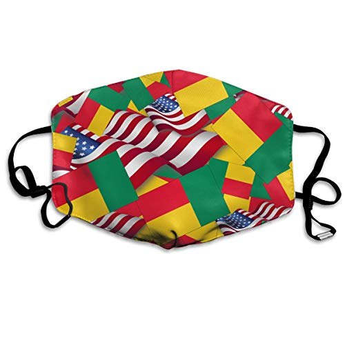 Benin Flag with America Flag Mouth Mask Unisex Face Mask Anti-dust Cotton Face Mask for Men and Women