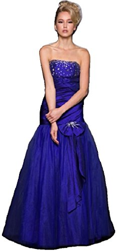 Women Taffeta Embellished Sequin Rhinestones Ball Gown Special Occasion Dress Royal S