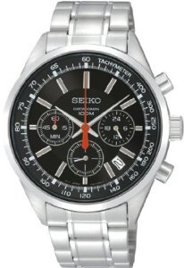 Seiko Stainless Steel Quartz Chronograph Black Dial Tachymeter Bezel -