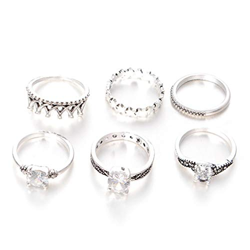 Myhouse 6 Pcs/Set Crown Alloy Rhinestone Knuckle Rings Set Vintage Finger Rings Women Jewelry Accessories,Ancient Silver Color