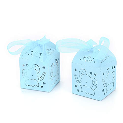 50 Pack Baby Blue Elephant Boy Baby Shower Decoration Laser Cut Paper Party Treat Box Wedding Royal Prince Boy Birthday Gifts Wrapping Candy Buffet Table -
