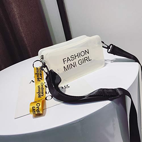WSLMHH Paquet de gelée Transparente Femme marée Version coréenne de la personnalité Sauvage été Petit Sac à bandoulière carré Sac Messenger Blanc