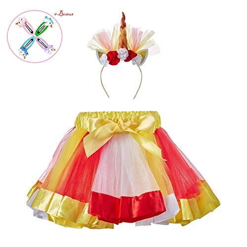 Pleated Four (Tutu Dress with Unicorn Headband, Rainbow Mini Tutu Dress with Elastic Waist (Rainbow 6, M,4-8 Years))