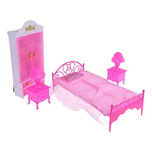 B Blesiya 6 Pieces Muebles Decoración Cama Armario Armario Lámpara De Mesa Juguetes En Miniatura