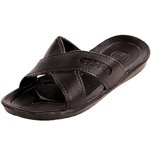 Affinity Women's Cross Strap Slip On Black Sport Sandals 8 B(M) US