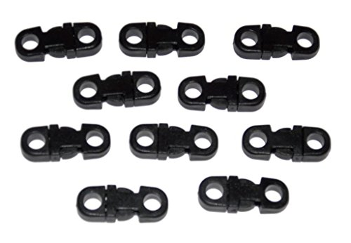 25 Small Black Breakaway Buckles for 550 Paracord and other Rope Crafts - Midwest Cord TM Brand Parachute Cord Accessories - 5mm Hole Tiny Buckles - Black Plastic Rope Necklace