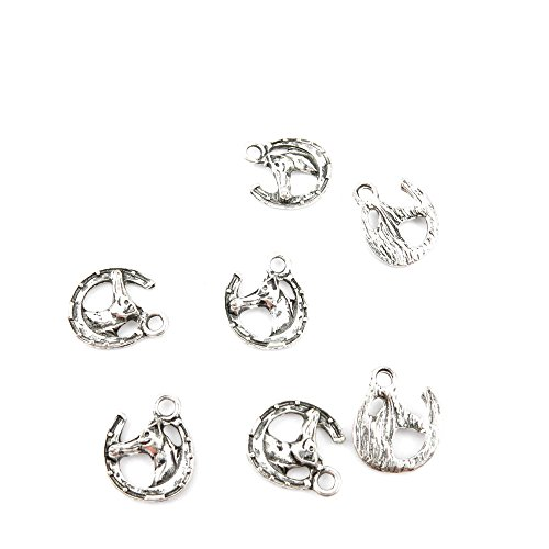 Horse Pendent (Qty 25 Pieces Ancient Silver Jewelry Making Charms Findings M0901 Horse Pendent Bulk for Bracelet Necklace)
