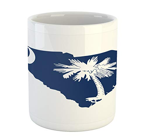 Lunarable South Carolina Mug, The Palmetto State Flag and Map Sabal Palm Tree and Crescent, Printed Ceramic Coffee Mug Water Tea Drinks Cup, Cobalt Blue and White
