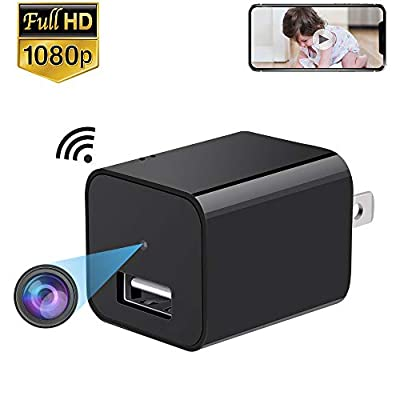 ENKLOV WiFi Charger Camera, 1080P Wireless IP Hidden Camera, HD USB Wall Spy Camera, Home Security Nanny Cam Support Windows/iOS iPhone/Android Phone APP Remote View from ENKLOV