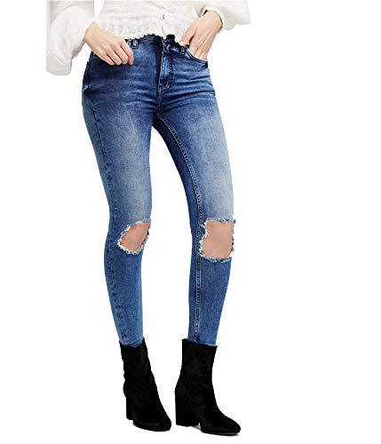 Free People Women's High-Rise Busted Skinny in Turquoise Turquoise 26 26 from Free People