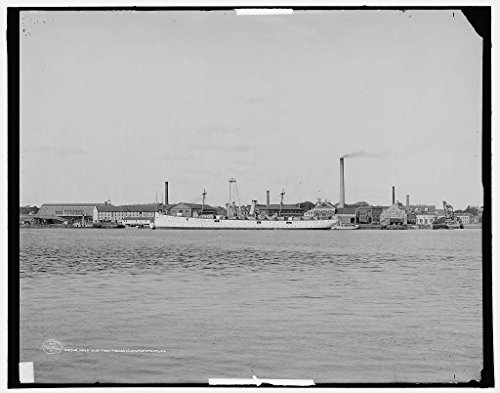 24 x 20 Art Canvas Print of c. 1907 Navy yard from Pierce's Island Portsmouth NH ie Portsmouth Navy Yard Kittery Maine by Detroit Publishing Co - Nh Kittery