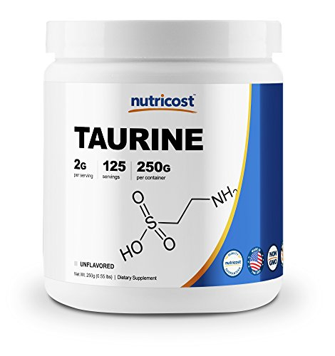 Nutricost Taurine Powder 250 Grams - 125 Servings, 2000mg Per Serving
