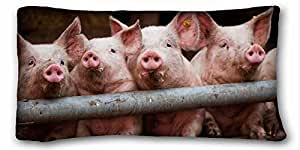"Custom Characteristic ( Animals pigs dirts lot cubs ) Zippered Body Pillow Case Cover Size 20""X36"" suitable for Full-bed PC-White-17716"