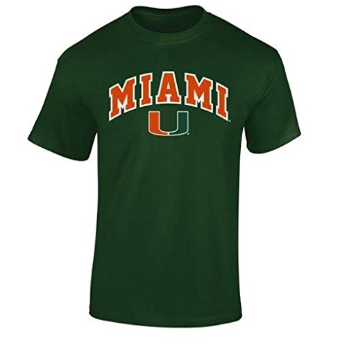Elite Fan Shop NCAA Men's Miami Hurricanes T Shirt Team Color Arch Miami Hurricanes Green -