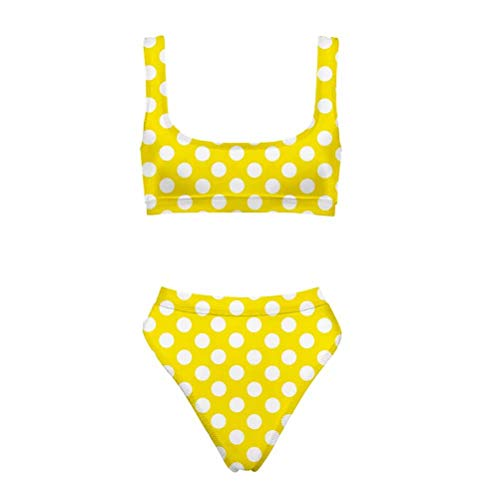 - Allcute Women Scoop Neck Cropped Top Yellow Polka Dot Swimsuits High Waist 2PCS Bikini Set