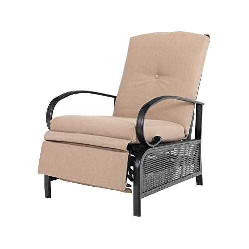 PHI VILLA Outdoor Patio Metal Adjustable Relaxing Recliner Lounge Chair with Cushion ()