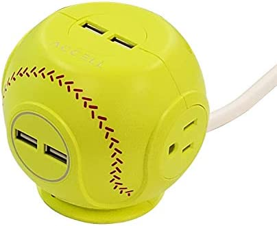 Accell Power Cutie – Compact Surge Protector with 3 Tamper Resistant 540J Surge Protected AC outlets and 4 USB-A Charging Ports, 6ft Cord, Softball Yellow