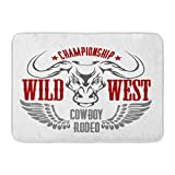 Aabagael Bath Mat Wings Red Western Wild West Championship Cowboy Rodeo Vintage Artwork for Wear Texas America Bathroom Decor Rug 16'' x 24''
