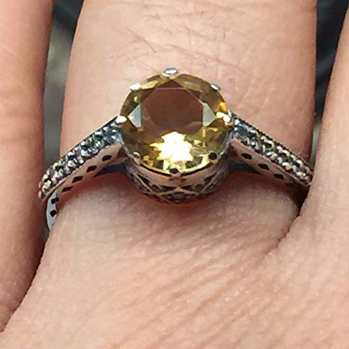 (Natural 1ct Golden Citrine 925 Solid Sterling Silver Victorian Filigree Engagement Ring sz 6, 8)