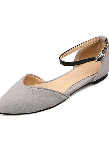 PDX/ Damenschuhe - High Heels - Lässig - Kunstleder - Flacher Absatz - Absätze / Spitzschuh - Schwarz / Blau / Gelb / Rot / Grau , gray-us6 / eu36 / uk4 / cn36 , gray-us6 / eu36 / uk4 / cn36