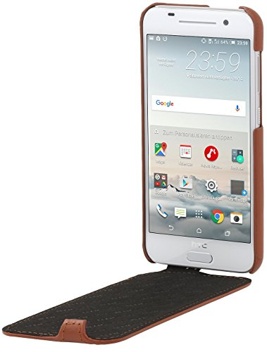 StilGut UltraSlim Case, Funda de piel para HTC One M9, coñac Marrón