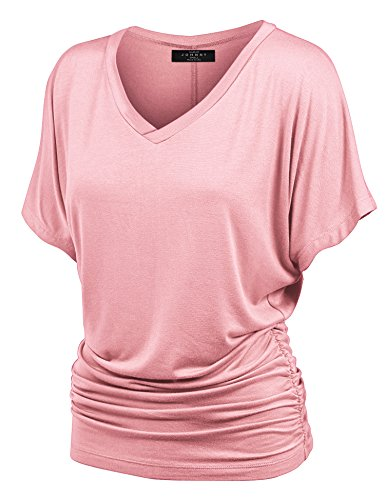 MBJ WT1037 V Neck Short Sleeve Dolman Top with Side (Womens Dolman)