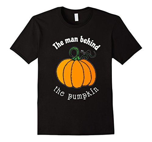 Mens The man behind the pumpkin, Funny pregnant Halloween T-shirt XL (Couples Pregnant Halloween Costumes)
