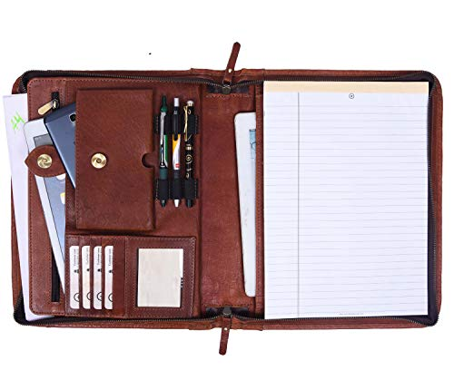 Zippered Genuine Leather Business Portfolio | Easy to Carry Organizer with Writing Pad Holder, Business Card and Pen Slots. IPAD/Tablet Holder and Flip-Closure Phone Pocket (Tan) (Best Credit Card For High School Graduate)