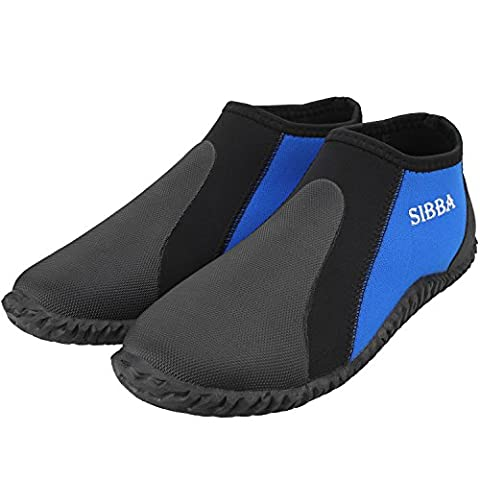 Sibba 3.5mm Premium Neoprene Low Top Diving Boots Wetsuits Pull On Boot Water Sports Boots Shoes for Women and Men (Black-Low Top, Men's 11 | Women's 12)