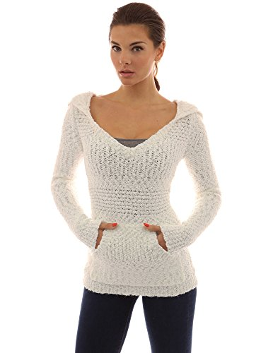 PattyBoutik Women's Hoodie Long Sleeve Open Stitch Sweater (Off-White - Stitch Off White