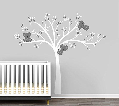 Modern Koala Cuteness Tree Wall Decal for Baby Nursery Decor - Grey Mist Color Collection by LittleLion Studio