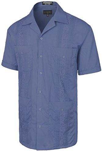 - Men's Premium Classic Embroidered Guayabera Short Sleeve FRENCHBLUE Shirt 2XL