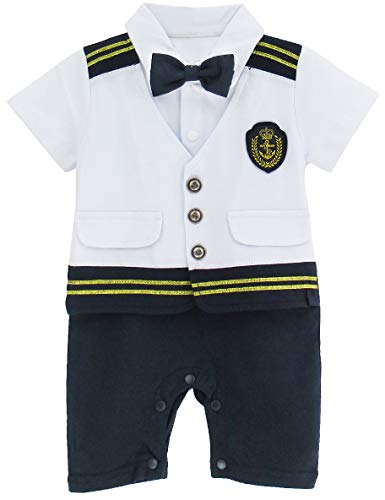 A&J DESIGN Halloween Baby Boys' Nautical Captain Costume Romper Outfit (9-12 Months, White)