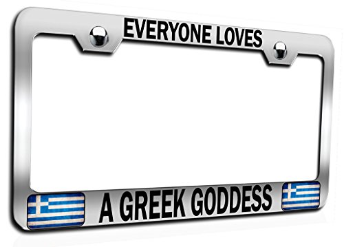 (Makoroni - EVERYONE LOVES A GREEK GODDESS Ch Steel Auto SUV License Plate Frame, License Tag Holder)