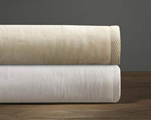Cotton and Acrylic Soft Blanket, Cashmere Softness, Imported From Portugal (Queen, Cream) ()