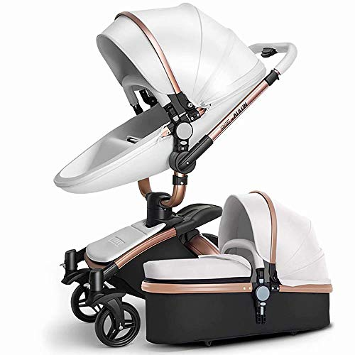 Baby Cart Hot Mom Pushchair 2 in 1 Multi-Function Combi-Stroller Deluxe Buggy Foldable Infant Toddler Pram from Birth to 36 Months (White)
