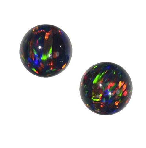 2 Black Created Opal  Round Beads Synthetic 8mm  - Earrings Stone Synthetic