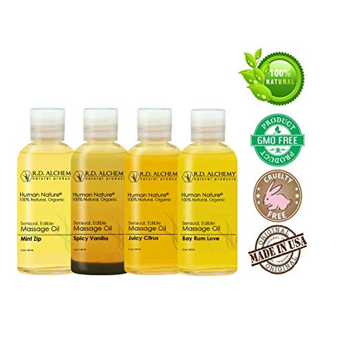 100% Natural & Organic Edible Massage Oil Sample Pack. Contains All 4 Flavors - Bay Rum Love, Juicy Citrus, Spicy Vanilla, Mint Zip. Best Massage Supply with Organic Oils. (Massage Oil Sex Edible)
