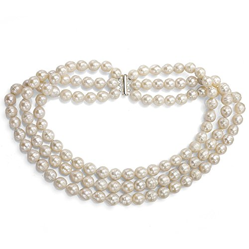 - Sterling Silver 3-rows 10-12mm White Off-shape Freshwater Cultured Pearl Necklace, 18