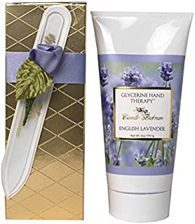 product image for Camille Beckman Romantic Manicure Gift Set, English Lavender, Glycerine Hand Therapy 6 oz, Premium Crystal Nail File