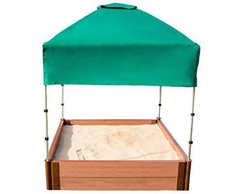 Frame It All Tool-Free Classic Sienna 4ft. x 4ft. x 11in. Composite Square Sandbox Kit with Telescoping Canopy/Cover - 2