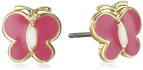 Little Miss Twin Stars GirlsCharming Treats 14k Gold-Plated Enamel Butterfly and Center Stripe Stud Earrings
