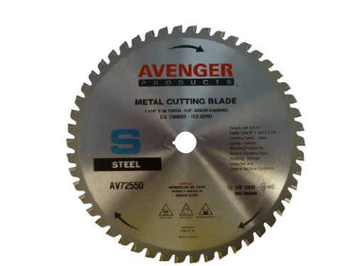 (Avenger AV-72550 Steel Cutting Saw Blade, 7-1/4-inch by 50 tooth, 5/8-inch arbor with diamond KO, C-6, ATB)