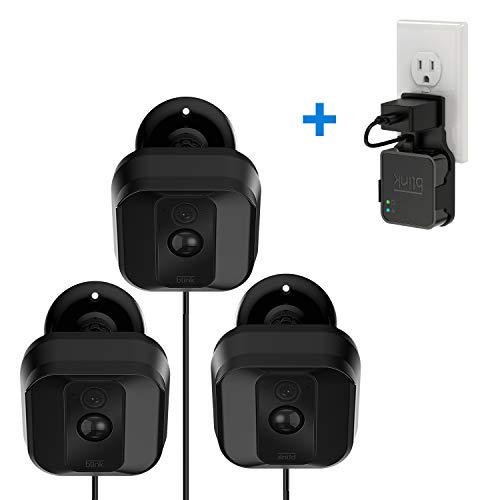 Blink XT XT2 Camera Brackets with Blink Sync Module Outlet Wall Mount, 3 Pack Weather Proof 360 Degree Adjustable Protective Indoor/Outdoor Camera Holder with 1 Pack No Messy Wires WiFi ()