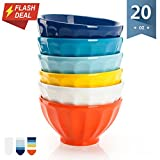 【Flash Deal】Sweese 1118 Porcelain Fluted Latte Bowl Set - 20 Ounce Stable and Deep - Microwavable Bowls for Cereal, Soup - Set of 6, Hot Assorted Colors