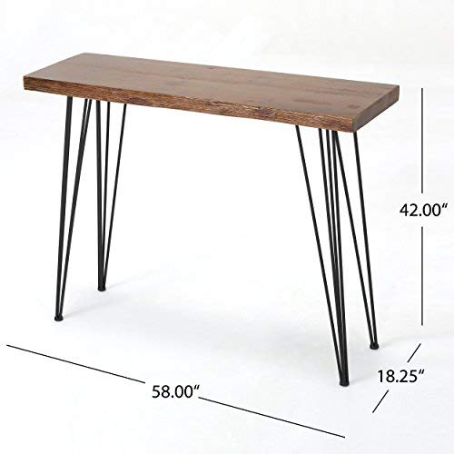Aneissa Industrial Faux Live Edge Rectangular Bar Table, Natural by Christopher Knight Home (Image #5)
